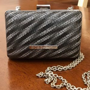 BCBG shoulder black silver clutch purse mini bag
